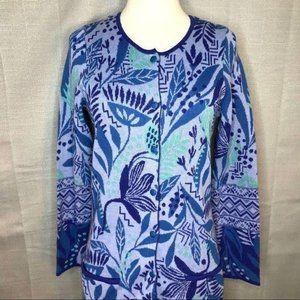 Gudrun Sjoden Purple Blue Long Cardigan Size XS
